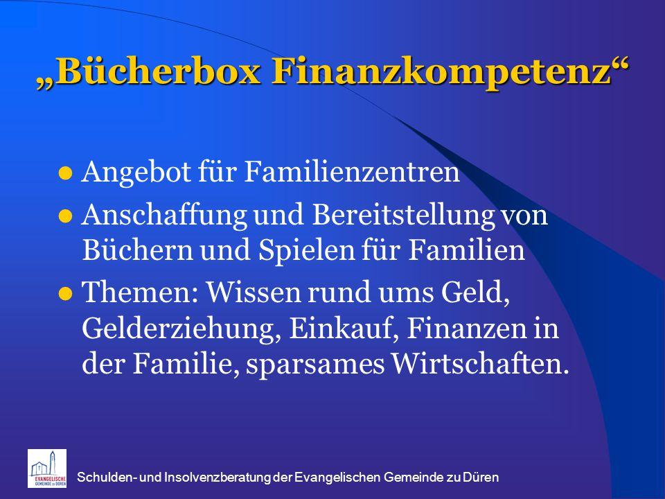 """""""Bücherbox Finanzkompetenz Angebot für Familienzentren Anschaffung und Bereitstellung von Büchern und Spielen für Familien Themen: Wissen rund ums Geld, Gelderziehung, Einkauf, Finanzen in der Familie, sparsames Wirtschaften."""