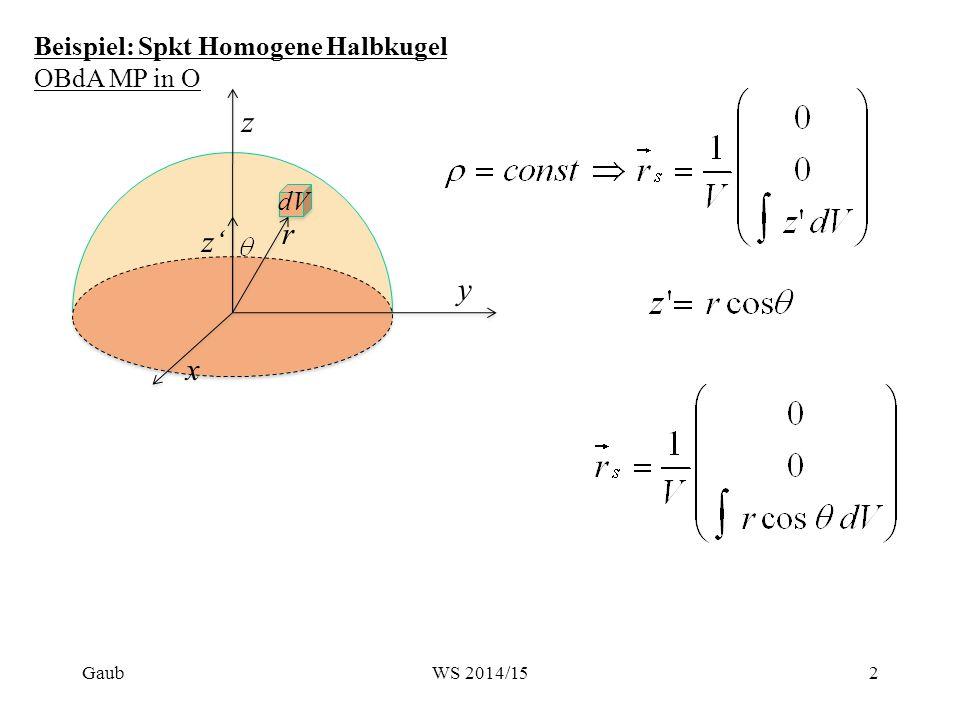 Beispiel: Spkt Homogene Halbkugel OBdA MP in O r r r r R Gaub3WS 2014/15