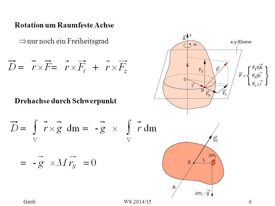 Rotation um Raumfeste Achse  nur noch ein Freiheitsgrad Drehachse durch Schwerpunkt Gaub6WS 2014/15