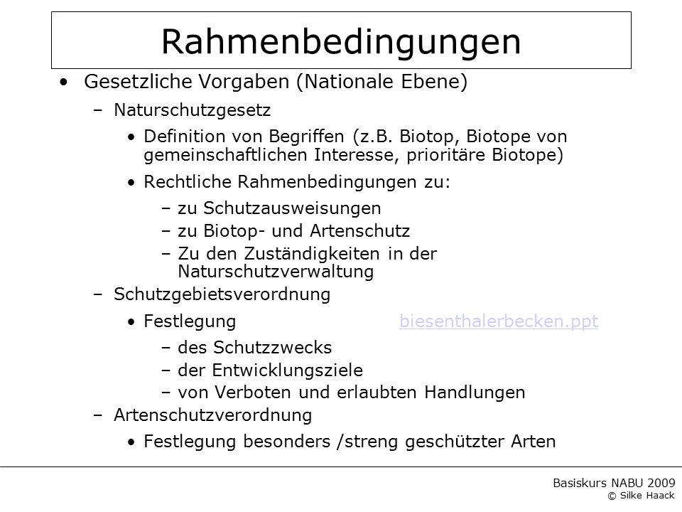 Basiskurs NABU 2009 © Silke Haack Rahmenbedingungen Gesetzliche Vorgaben (Nationale Ebene) –Naturschutzgesetz Definition von Begriffen (z.B. Biotop, B