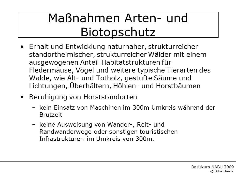 Basiskurs NABU 2009 © Silke Haack Maßnahmen Arten- und Biotopschutz Erhalt und Entwicklung naturnaher, strukturreicher standortheimischer, strukturrei