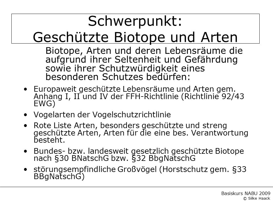 Basiskurs NABU 2009 © Silke Haack Weitere geschützte Tierarten ArtRL BB FFHStatus Gebirgstelze (Motacilla cinerea)2Brutvogel Schellente (Bucephala clangula)3Brutvogel Sperber (Accipiter nisus)2Brutvogel Fransenfledermaus (Myotis nattereri)2 Wasserfledermaus (Myotis daubentonii)4 Großes Mausohr (Myotis myotis)1IINahrungsgast.
