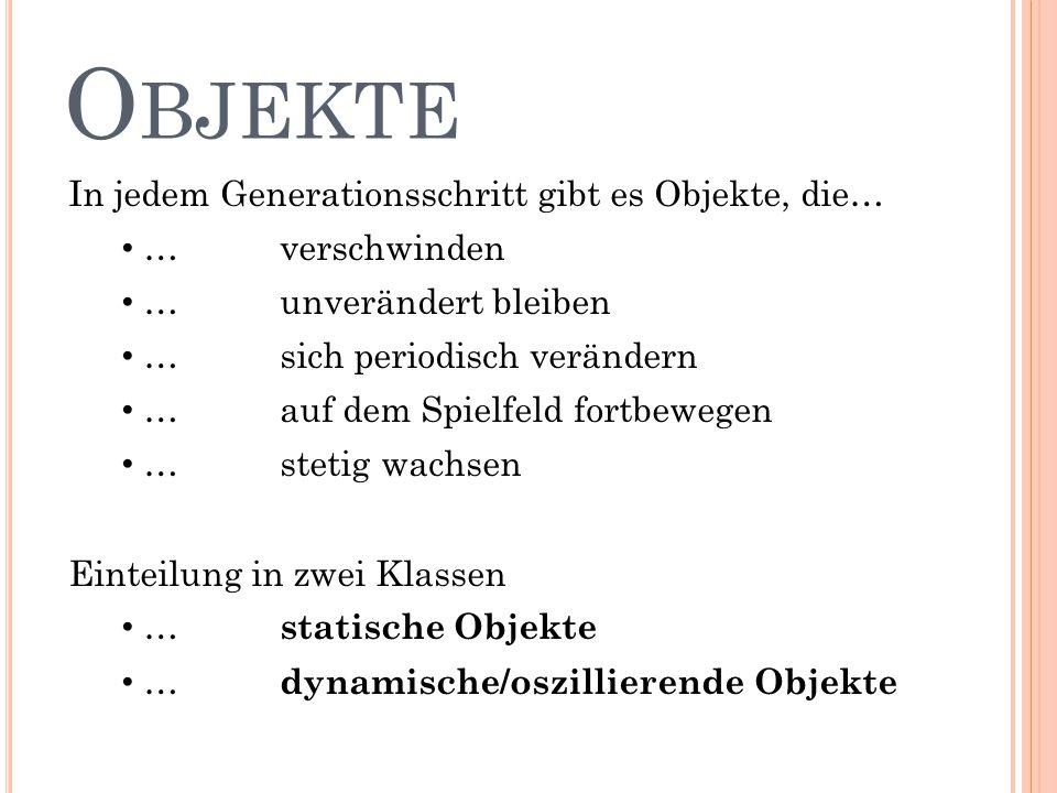 """STATISCHE OBJEKTE Funktionen sind… …""""Gleiter fressen …""""Gleiter umlenken"""