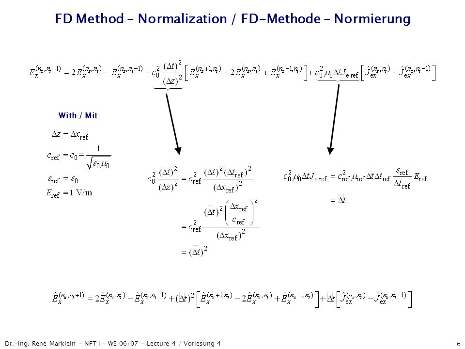 Dr.-Ing. René Marklein - NFT I - WS 06/07 - Lecture 4 / Vorlesung 4 6 FD Method – Normalization / FD-Methode – Normierung With / Mit
