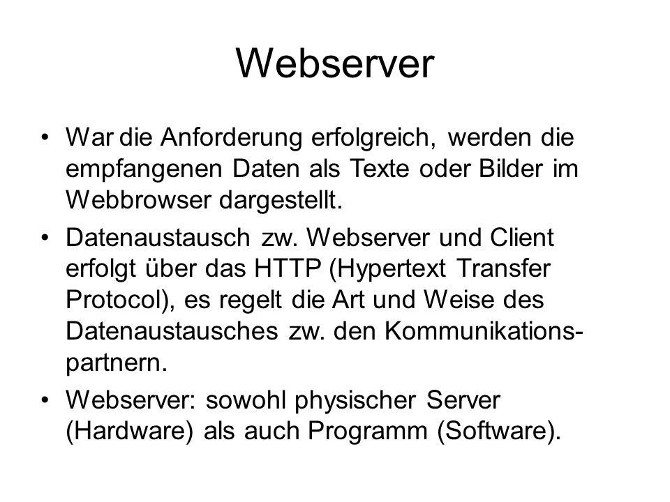 Webserver War die Anforderung erfolgreich, werden die empfangenen Daten als Texte oder Bilder im Webbrowser dargestellt. Datenaustausch zw. Webserver