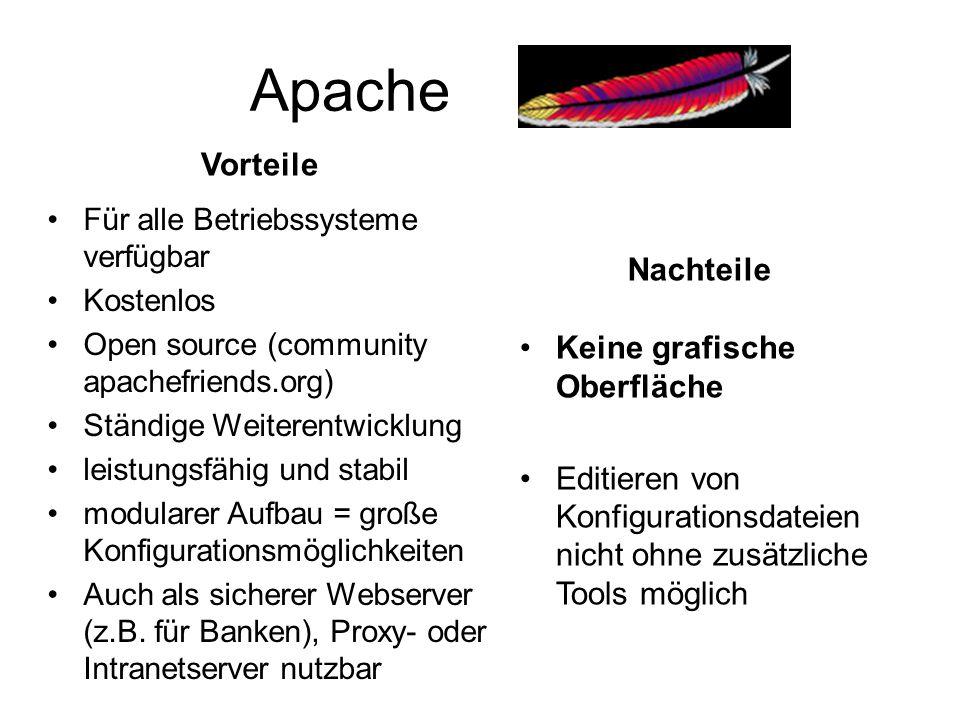 Apache Vorteile Für alle Betriebssysteme verfügbar Kostenlos Open source (community apachefriends.org) Ständige Weiterentwicklung leistungsfähig und s