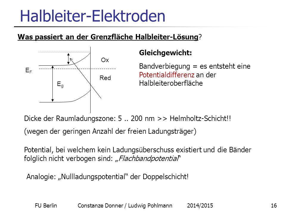 FU Berlin Constanze Donner / Ludwig Pohlmann 2014/201516 Halbleiter-Elektroden Was passiert an der Grenzfläche Halbleiter-Lösung.