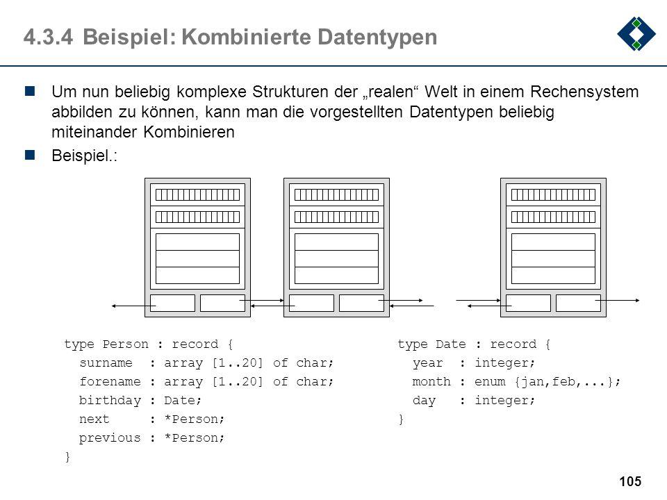 104 4.3.3Pointer: Dynamische Datentypen Mit konkreten, d.h. einfachen und strukturierten Datentypen lassen sich nur statische Struktur aufbauen d.h. S