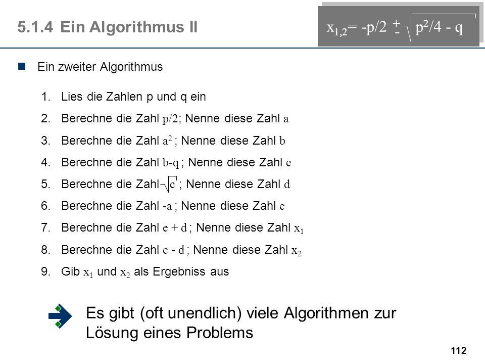 111 Zuweisungen 5.1.3Ein Algorithmus I 1.Lies die Zahlen p und q ein 2.Berechne die Zahl w = p 2 /4 - q 3.Berechne die Zahl x 1 = -p/2 + w 4.Berechne