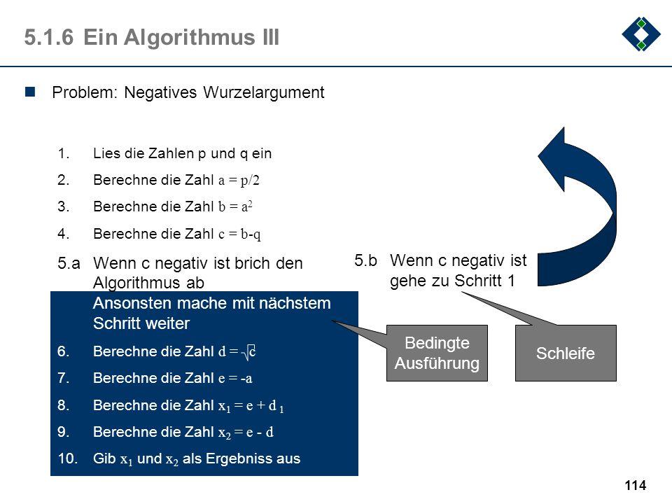 113 5.1.5Vergleich der Algorithmen Berechne die Zahl w = p 2 /4 - q Berechne die Zahl x 1 = -p/2 + w Berechne die Zahl x 2 = -p/2 - w Berechne die Zah