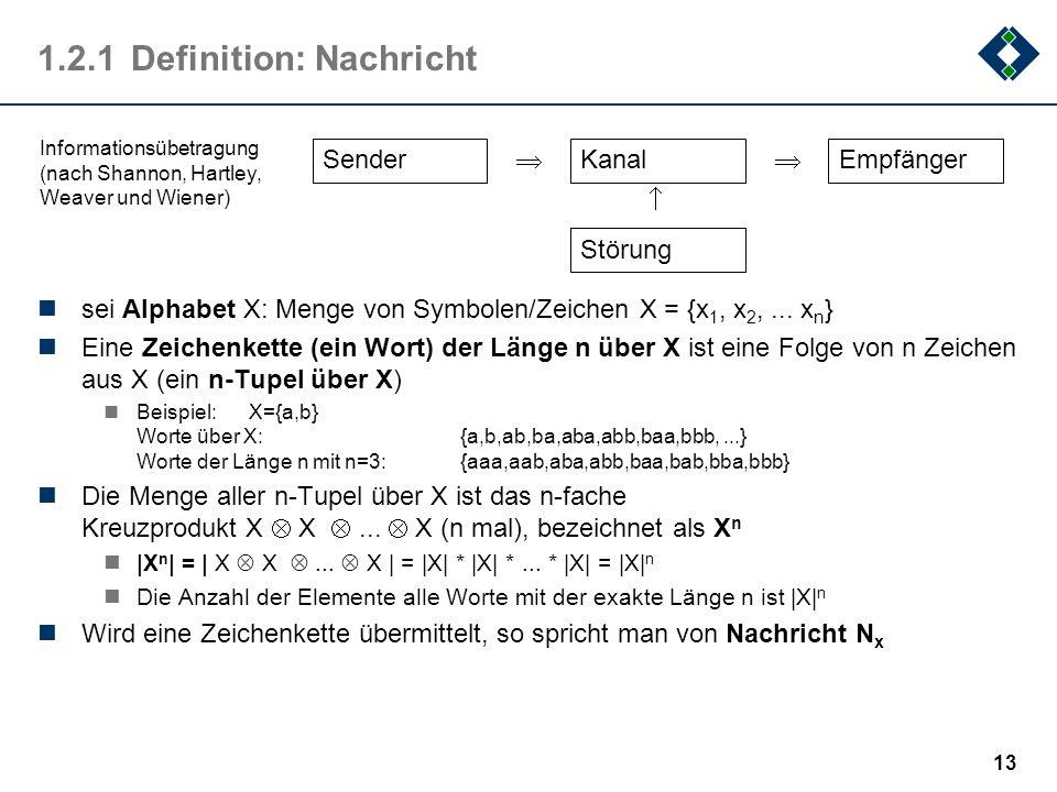 12 1.2Nachrichtentechnische Definition (nach Shannon) Information hat vielfältige Repräsentationsformen. Noch vor Entstehen der Informatik als Wissens