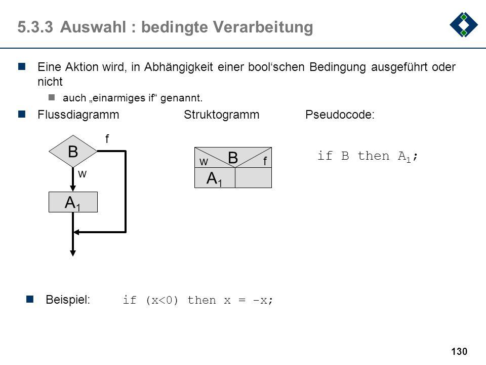 129 5.3.2Folge Folgen bestimmen die lineare Reihenfolge von Aktionen in Algorithmen: FlussdiagrammStruktogrammPseudocode: A1A1 A2A2 AnAn... A1A1 A2A2