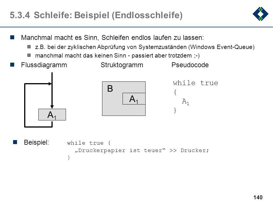 """139 5.2.4Schleife: Die """"For""""-Schleife Da Schleifen mit Zähler sehr häufig auftreten, stellen viele Programmiersprachen ein eigenes sprachliches Mittel"""