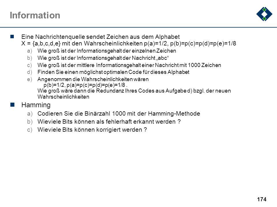 173 Informatik Fehlt in dieser Beispielklausur: a)weitere Wissensfragen b)...