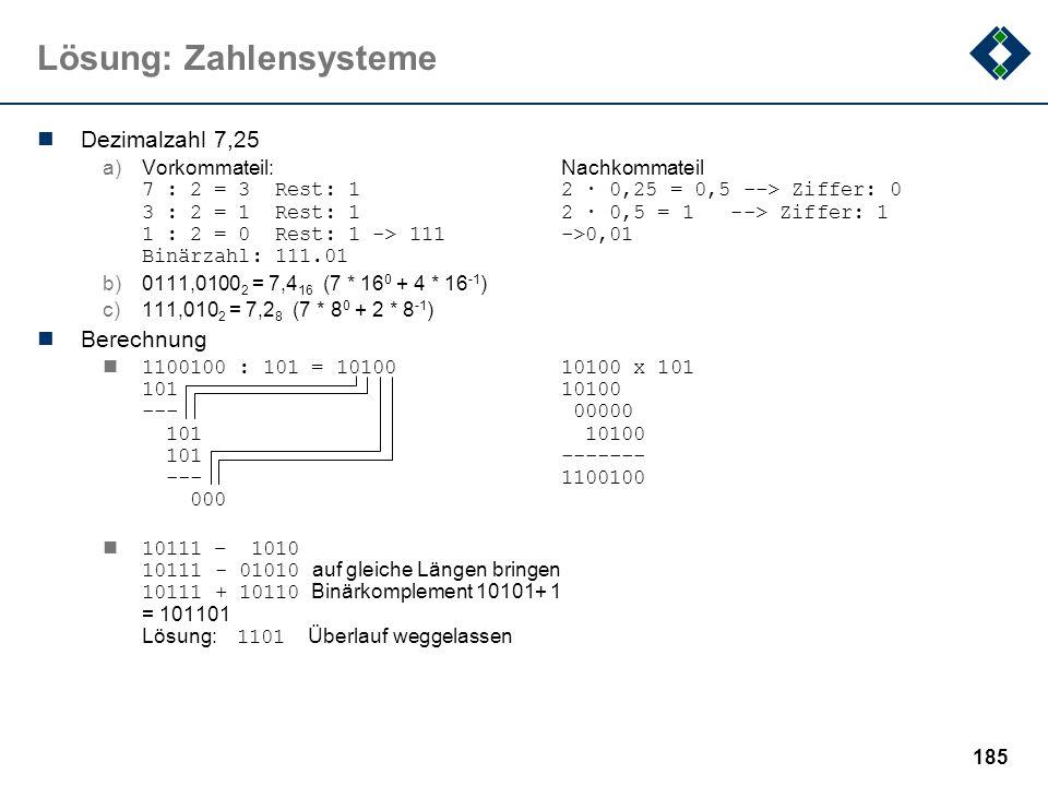 184 Lösung: Information Eine Nachrichtenquelle sendet Zeichen aus dem Alphabet X = {a,b,c,d,e} mit den Wahrscheinlichkeiten p(a)=1/2, p(b)=p(c)=p(d)=p