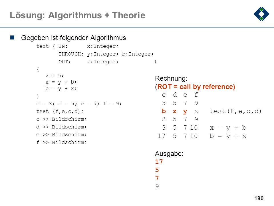 189 Lösung: Algorithmus + Theorie x=a; y=5;axyInvariant: while (x>0)4455 + a = x + y {----------------------- y = y+1;4365 + a = x + y x = x-1;4275 +