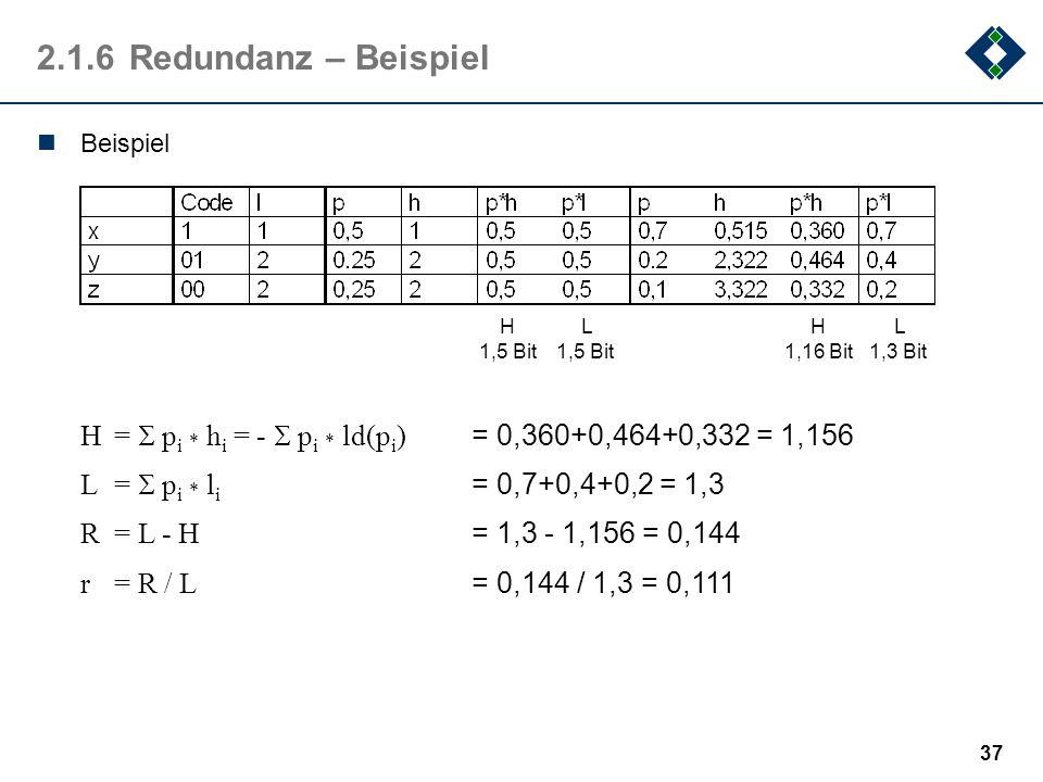 36 2.1.5Definition: Redundanz Die mittlere Wortlänge eines Binärcodes ist immer größer oder gleich dem mittleren Informationsgehalt. Die Differenz zwi