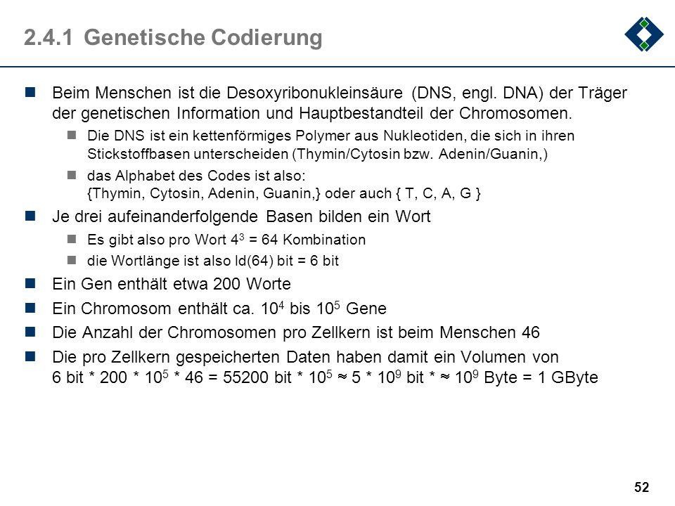 51 2.4Beispiele Anhand zweier Beispiele soll gezeigt werden, wie: die Natur, Gott (oder das fliegende Spaghetti-Monster) der Mensch Information codier