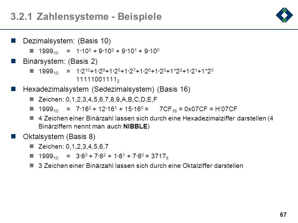 66 3.2.1Zahlensysteme Nicht systematische Zahlendarstellungen, z.B.: Strichliste: I, II, III, IIII, IIII, IIII I,... römische Zahlen:MIM, IX,.... Syst