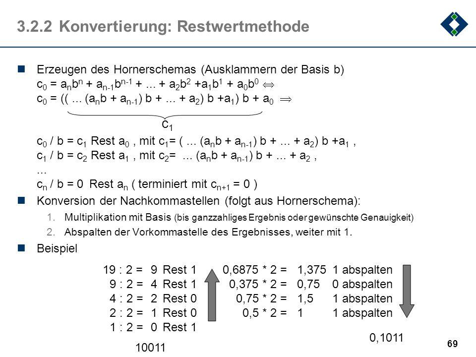 """68 3.2.2Konvertierung: """"Intuitivmethode"""" Addition von geeigneten Zweierpotenzen (Dezimalzahl  Dualzahl) positive Zweierpotenzen für Vorkommaanteil ne"""