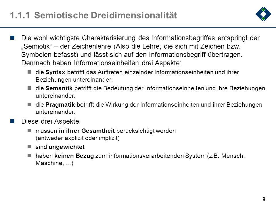 """9 1.1.1Semiotische Dreidimensionalität Die wohl wichtigste Charakterisierung des Informationsbegriffes entspringt der """"Semiotik – der Zeichenlehre (Also die Lehre, die sich mit Zeichen bzw."""