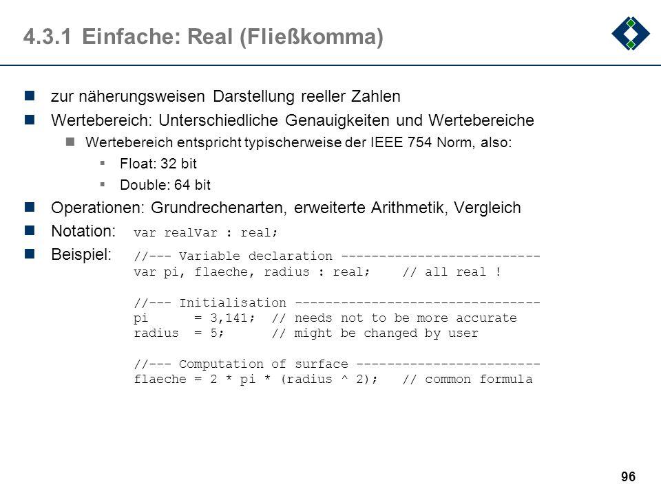 95 4.3.1Einfache: Enum (Aufzählung) zur Darstellung endlicher benutzerdefinierter Wertebereich Es ist guter Stil, Mengen mit (garantiert) kleiner Mäch