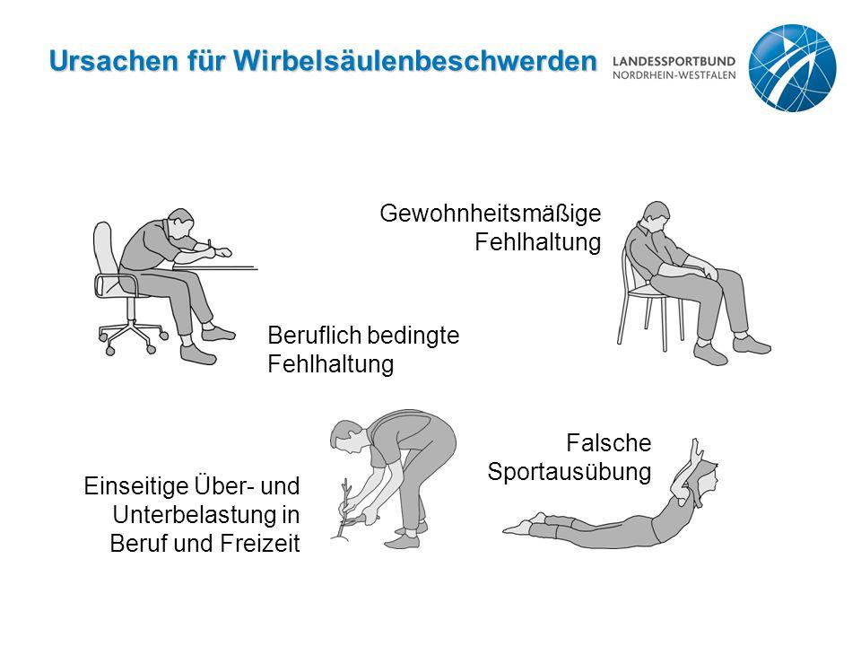 Ursachen für Wirbelsäulenbeschwerden Beruflich bedingte Fehlhaltung Gewohnheitsmäßige Fehlhaltung Falsche Sportausübung Einseitige Über- und Unterbela