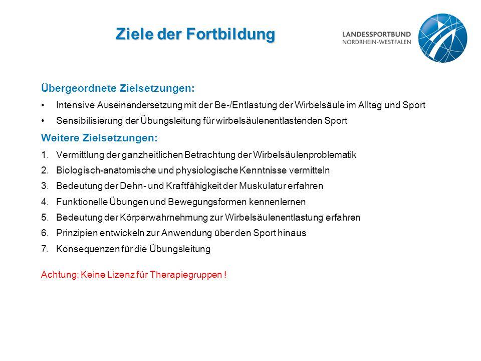 Ziele der Fortbildung Übergeordnete Zielsetzungen: Intensive Auseinandersetzung mit der Be-/Entlastung der Wirbelsäule im Alltag und Sport Sensibilisi