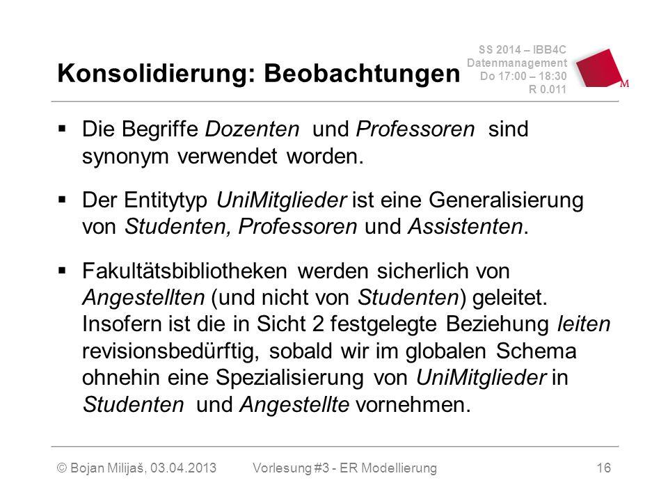 SS 2014 – IBB4C Datenmanagement Do 17:00 – 18:30 R 0.011 © Bojan Milijaš, 03.04.2013 Konsolidierung: Beobachtungen  Die Begriffe Dozenten und Professoren sind synonym verwendet worden.