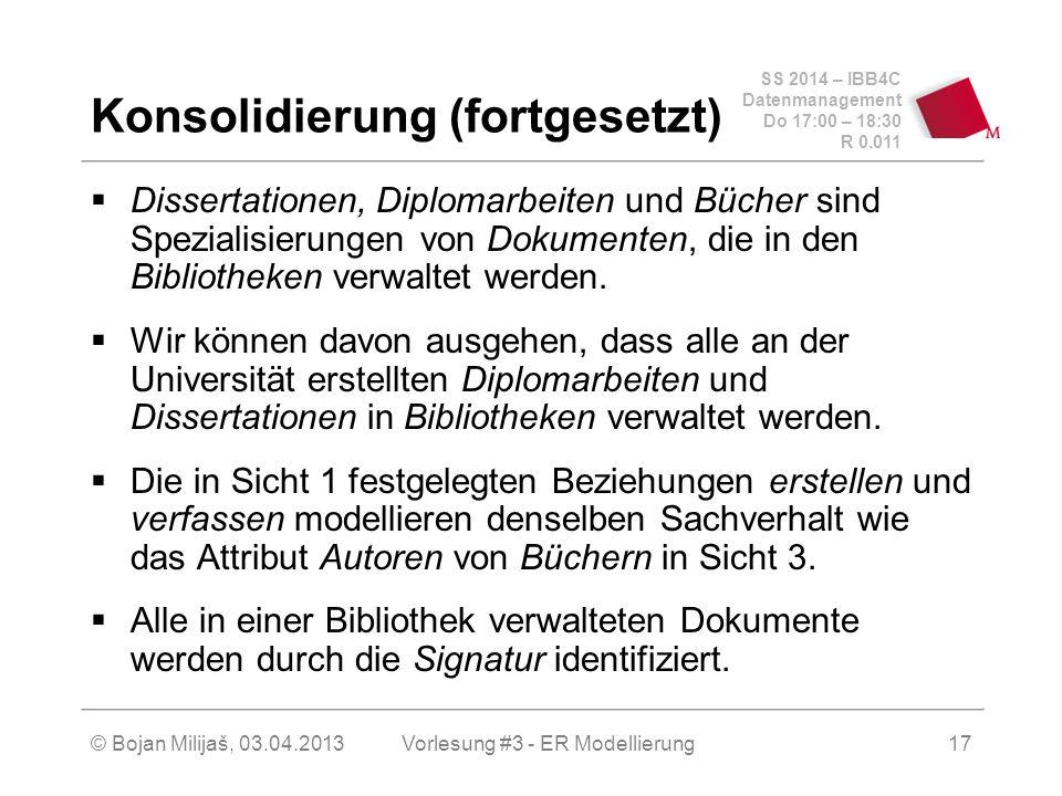 SS 2014 – IBB4C Datenmanagement Do 17:00 – 18:30 R 0.011 © Bojan Milijaš, 03.04.2013 Konsolidierung (fortgesetzt)  Dissertationen, Diplomarbeiten und Bücher sind Spezialisierungen von Dokumenten, die in den Bibliotheken verwaltet werden.