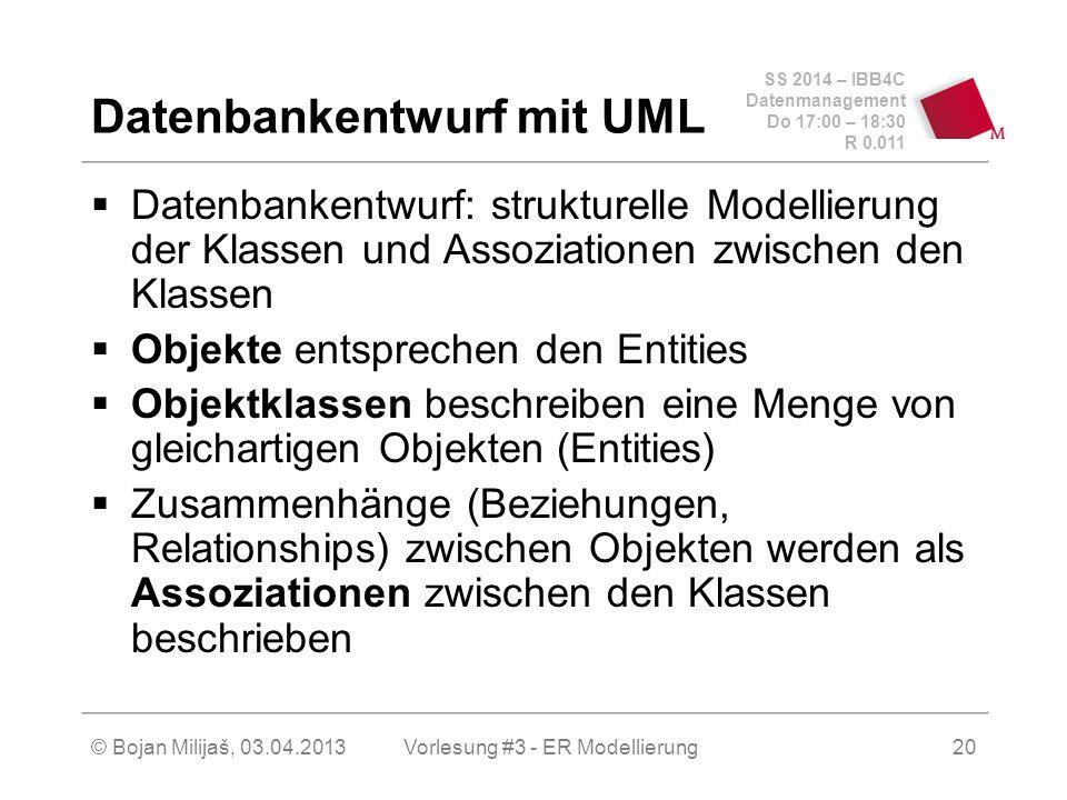 SS 2014 – IBB4C Datenmanagement Do 17:00 – 18:30 R 0.011 © Bojan Milijaš, 03.04.2013 Datenbankentwurf mit UML  Datenbankentwurf: strukturelle Modelli
