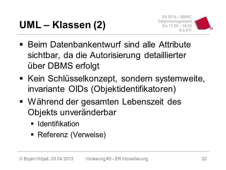 SS 2014 – IBB4C Datenmanagement Do 17:00 – 18:30 R 0.011 © Bojan Milijaš, 03.04.2013 UML – Klassen (2)  Beim Datenbankentwurf sind alle Attribute sic