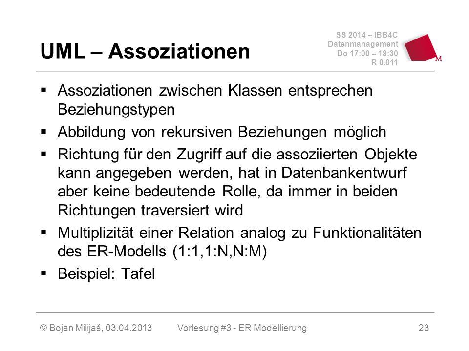 SS 2014 – IBB4C Datenmanagement Do 17:00 – 18:30 R 0.011 © Bojan Milijaš, 03.04.2013 UML – Assoziationen  Assoziationen zwischen Klassen entsprechen
