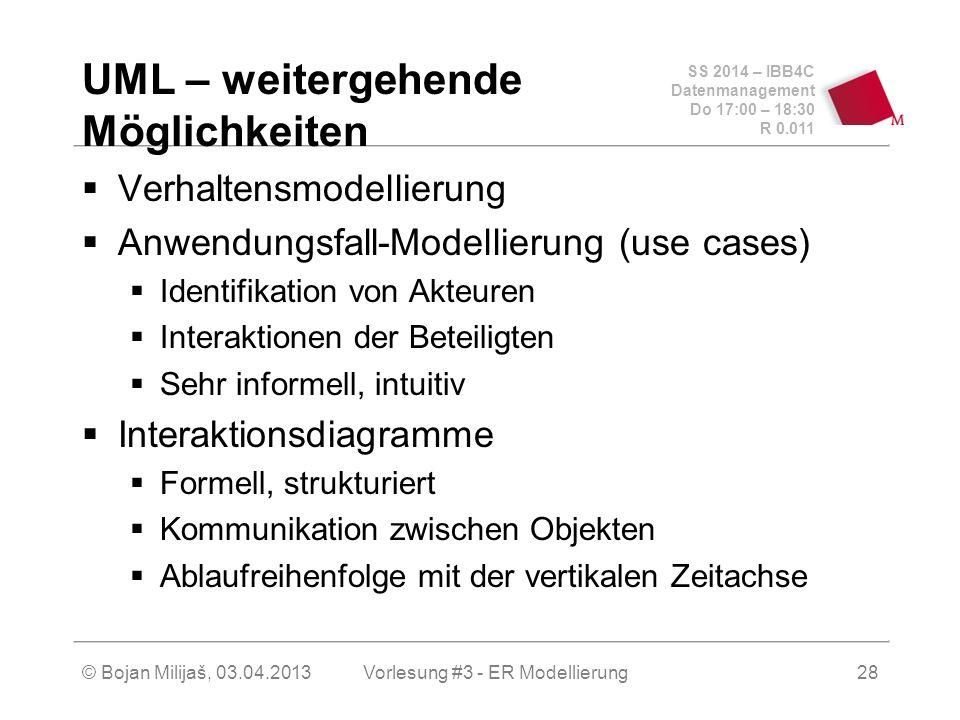 SS 2014 – IBB4C Datenmanagement Do 17:00 – 18:30 R 0.011 © Bojan Milijaš, 03.04.2013 UML – weitergehende Möglichkeiten  Verhaltensmodellierung  Anwendungsfall-Modellierung (use cases)  Identifikation von Akteuren  Interaktionen der Beteiligten  Sehr informell, intuitiv  Interaktionsdiagramme  Formell, strukturiert  Kommunikation zwischen Objekten  Ablaufreihenfolge mit der vertikalen Zeitachse 28Vorlesung #3 - ER Modellierung
