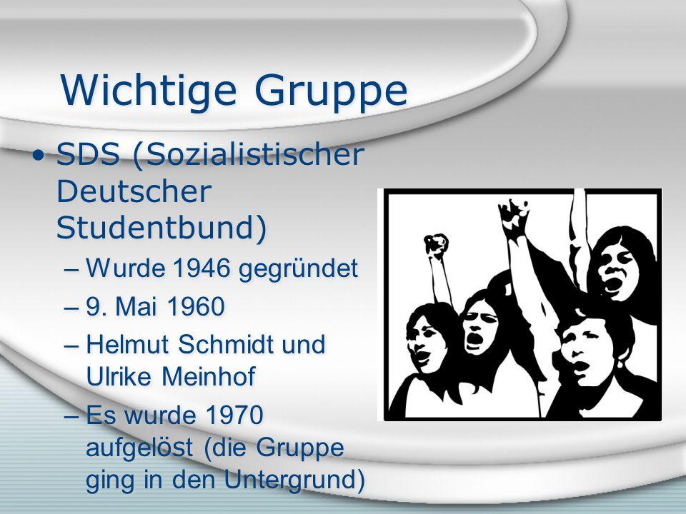Wichtige Gruppe SDS (Sozialistischer Deutscher Studentbund) –Wurde 1946 gegründet –9.