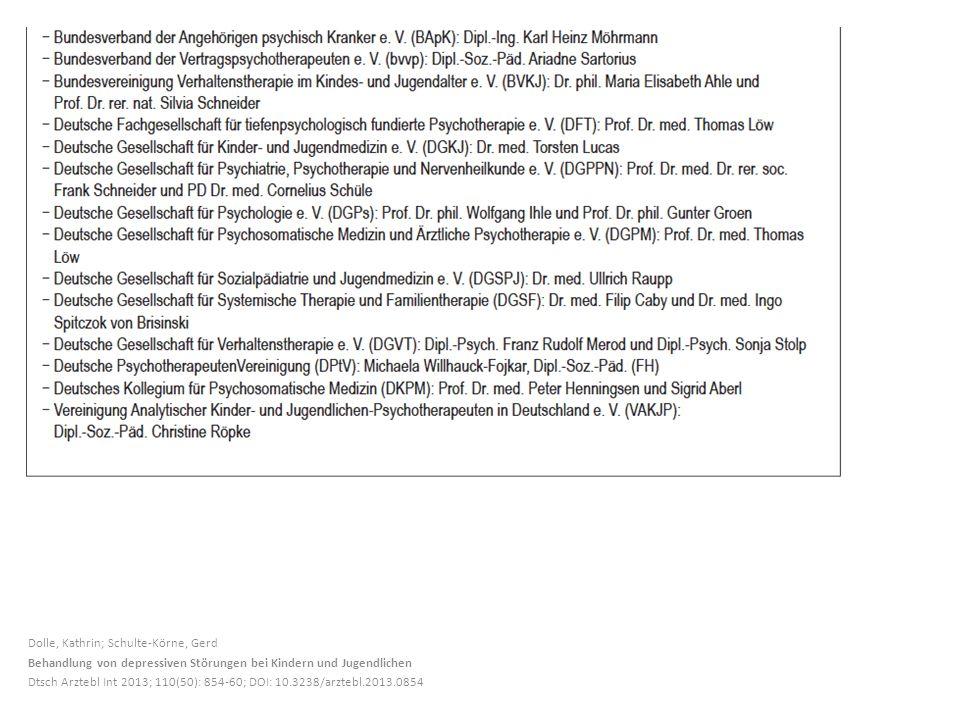 Dolle, Kathrin; Schulte-Körne, Gerd Behandlung von depressiven Störungen bei Kindern und Jugendlichen Dtsch Arztebl Int 2013; 110(50): 854-60; DOI: 10.3238/arztebl.2013.0854