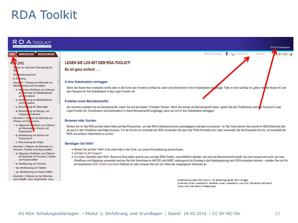 RDA Toolkit 12 Screenshot aus dem RDA-Toolkit mit Genehmigung der RDA-Verleger (American Library Association, Canadian Library Association, und CILIP: