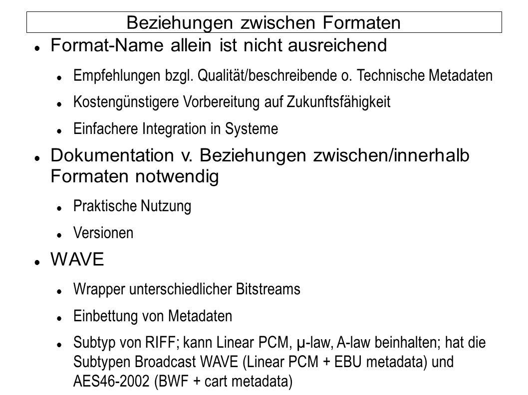 Beziehungen zwischen Formaten Format-Name allein ist nicht ausreichend Empfehlungen bzgl. Qualität/beschreibende o. Technische Metadaten Kostengünstig