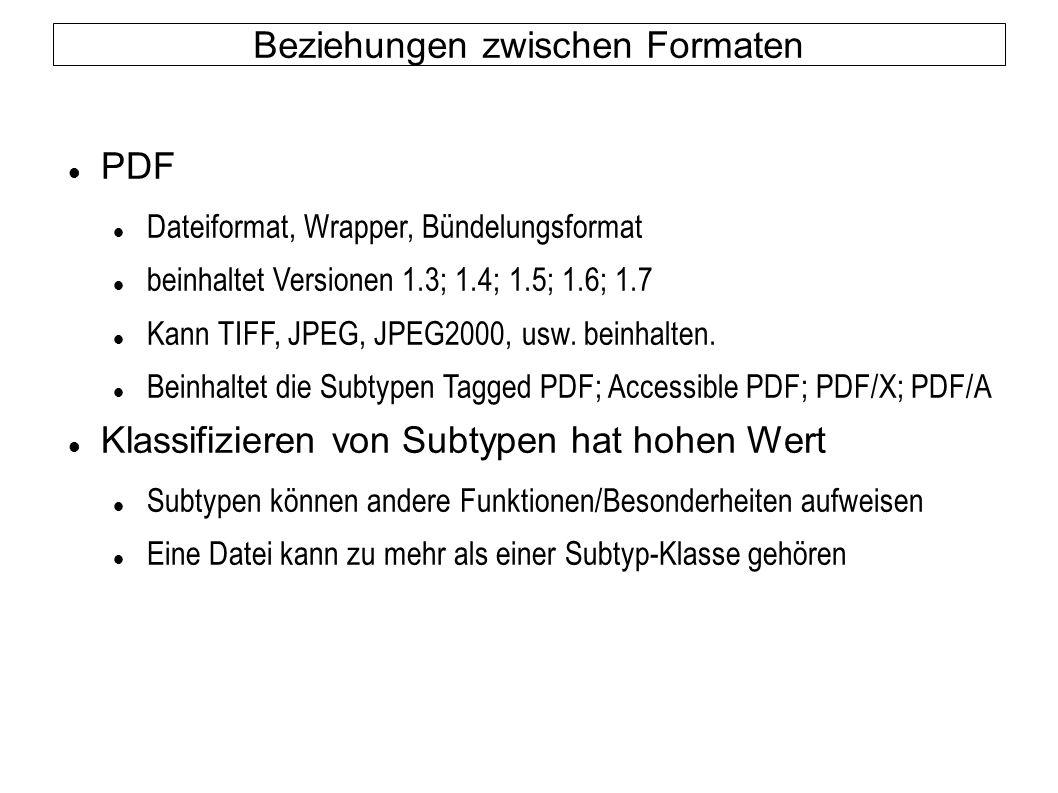 Beziehungen zwischen Formaten PDF Dateiformat, Wrapper, Bündelungsformat beinhaltet Versionen 1.3; 1.4; 1.5; 1.6; 1.7 Kann TIFF, JPEG, JPEG2000, usw.