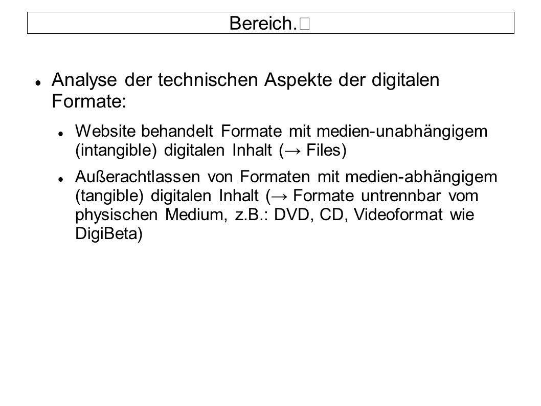 Bereich. Analyse der technischen Aspekte der digitalen Formate: Website behandelt Formate mit medien-unabhängigem (intangible) digitalen Inhalt (→ Fil
