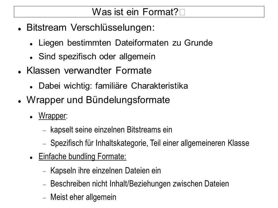 Was ist ein Format? Bitstream Verschlüsselungen: Liegen bestimmten Dateiformaten zu Grunde Sind spezifisch oder allgemein Klassen verwandter Formate D
