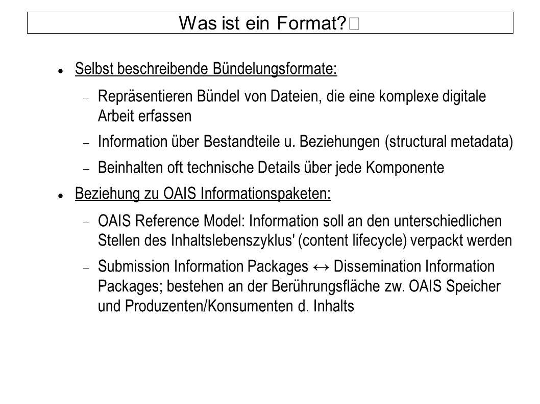 Was ist ein Format? Selbst beschreibende Bündelungsformate:  Repräsentieren Bündel von Dateien, die eine komplexe digitale Arbeit erfassen  Informat