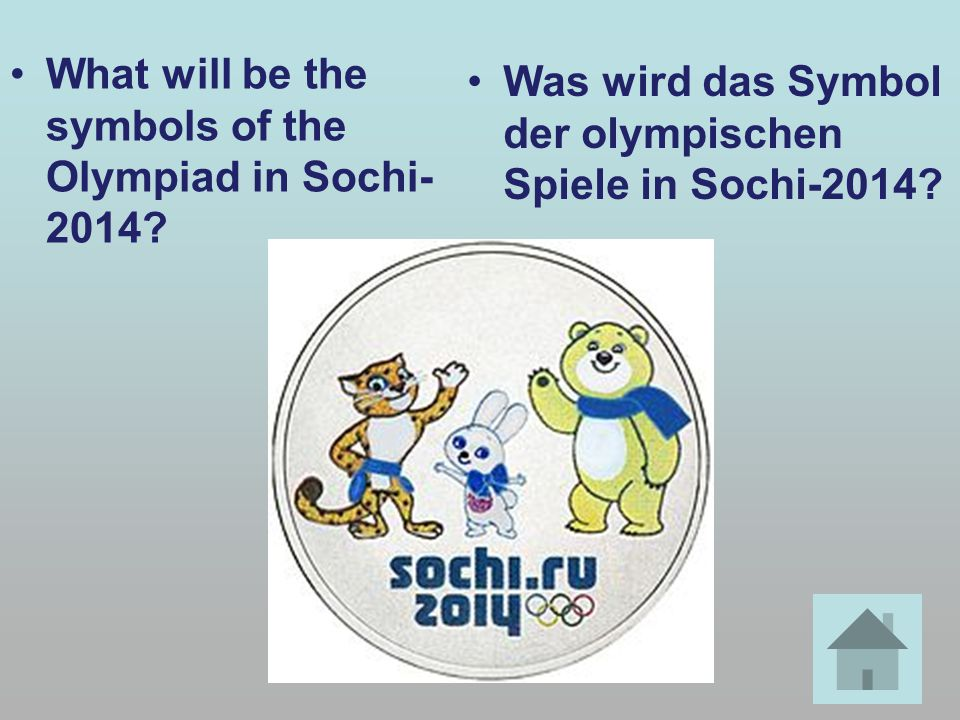 What will be the symbols of the Olympiad in Sochi- 2014.