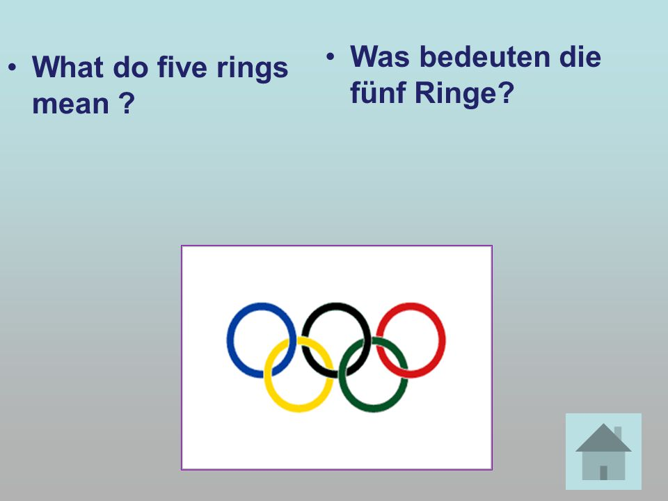 What do five rings mean ? Was bedeuten die fünf Ringe?