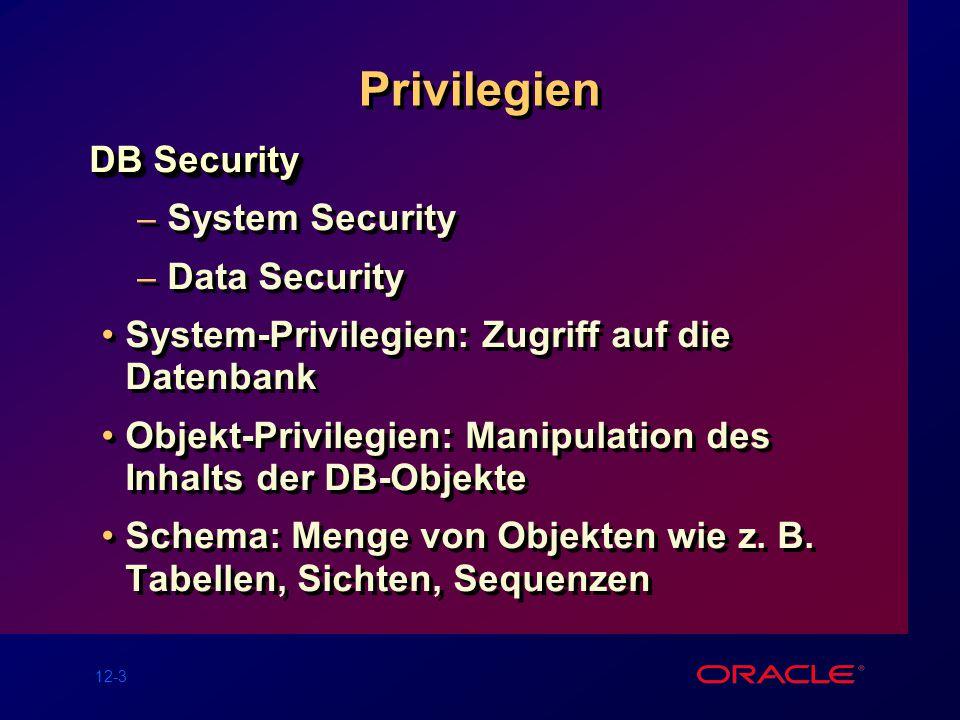12-3 Privilegien DB Security – System Security – Data Security System-Privilegien: Zugriff auf die Datenbank Objekt-Privilegien: Manipulation des Inhalts der DB-Objekte Schema: Menge von Objekten wie z.
