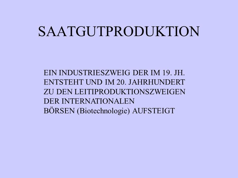 SAATGUTPRODUKTION EIN INDUSTRIESZWEIG DER IM 19. JH. ENTSTEHT UND IM 20. JAHRHUNDERT ZU DEN LEITIPRODUKTIONSZWEIGEN DER INTERNATIONALEN BÖRSEN (Biotec