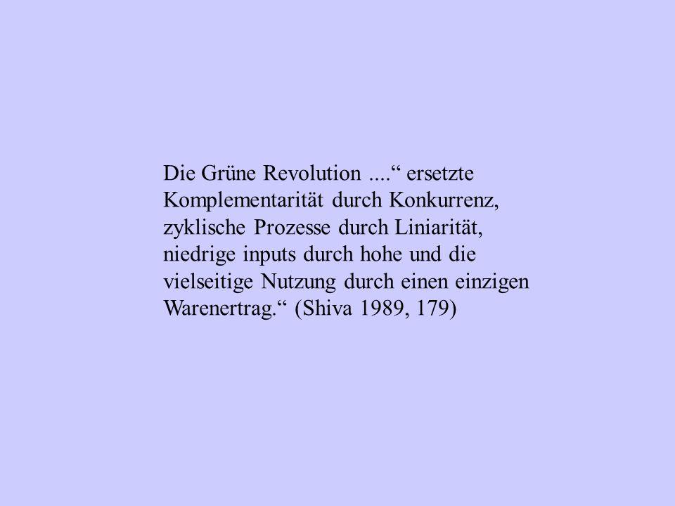 """Die Grüne Revolution...."""" ersetzte Komplementarität durch Konkurrenz, zyklische Prozesse durch Liniarität, niedrige inputs durch hohe und die vielseit"""