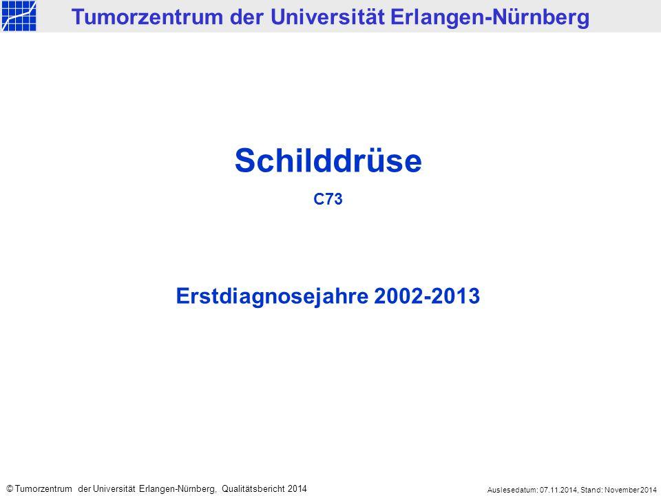 Schilddrüse C73 Erstdiagnosejahre 2002-2013 Tumorzentrum der Universität Erlangen-Nürnberg © Tumorzentrum der Universität Erlangen-Nürnberg, Qualitäts