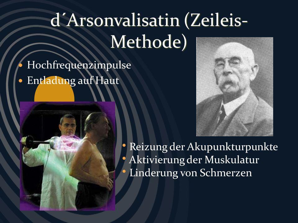 Hochfrequenzimpulse Entladung auf Haut d´Arsonvalisatin (Zeileis- Methode) Reizung der Akupunkturpunkte Aktivierung der Muskulatur Linderung von Schme