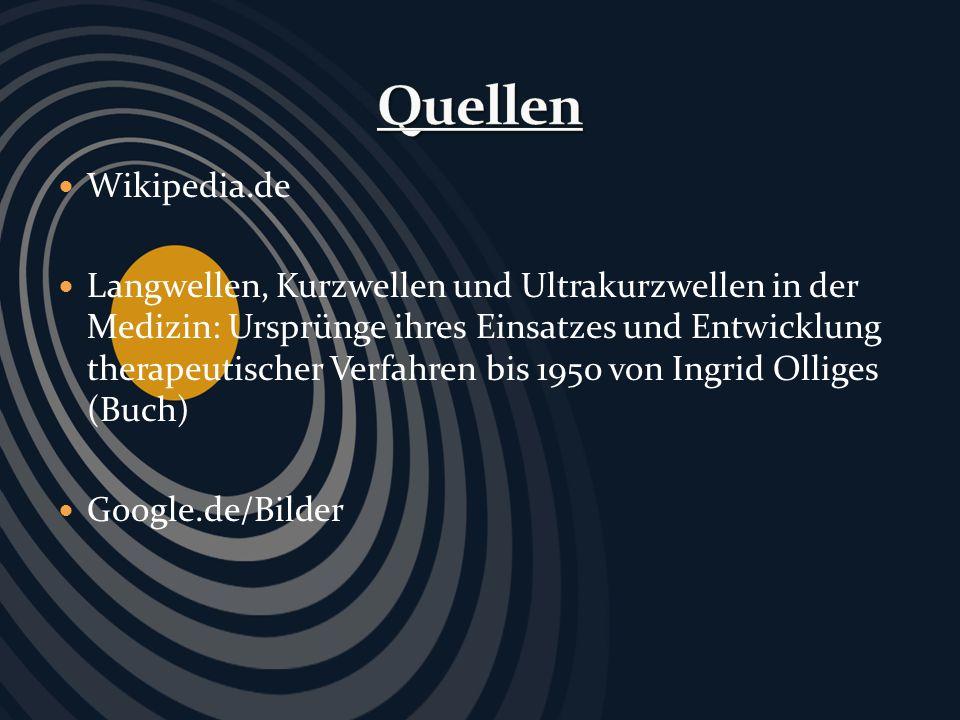 Wikipedia.de Langwellen, Kurzwellen und Ultrakurzwellen in der Medizin: Ursprünge ihres Einsatzes und Entwicklung therapeutischer Verfahren bis 1950 v